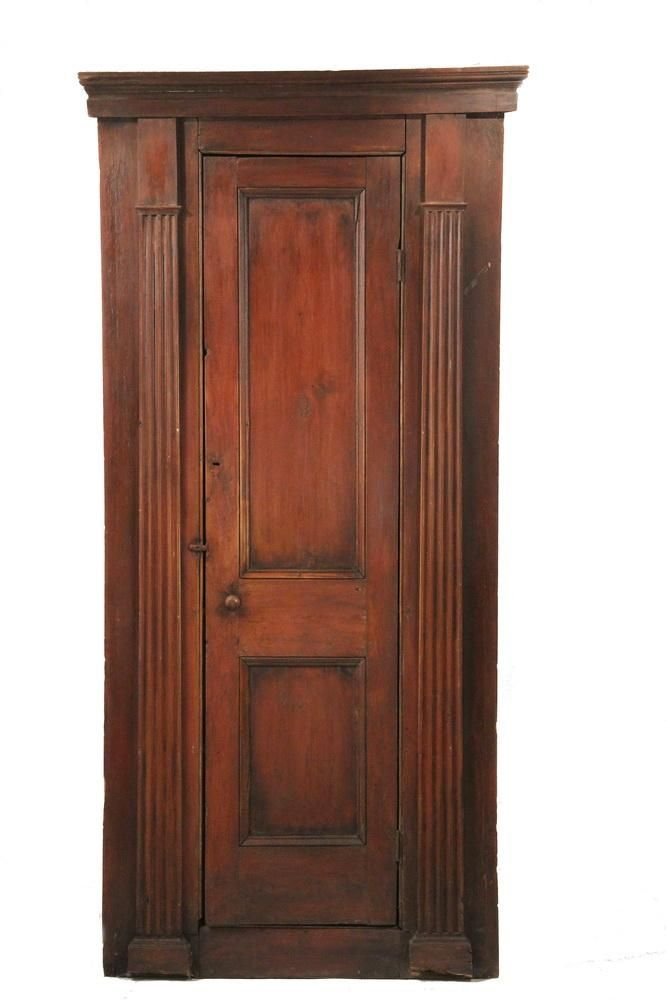 Ordinaire COLONIAL CORNER CUPBOARD   Red Stained Pine Architectural Corner Cupboard,  Withu2026