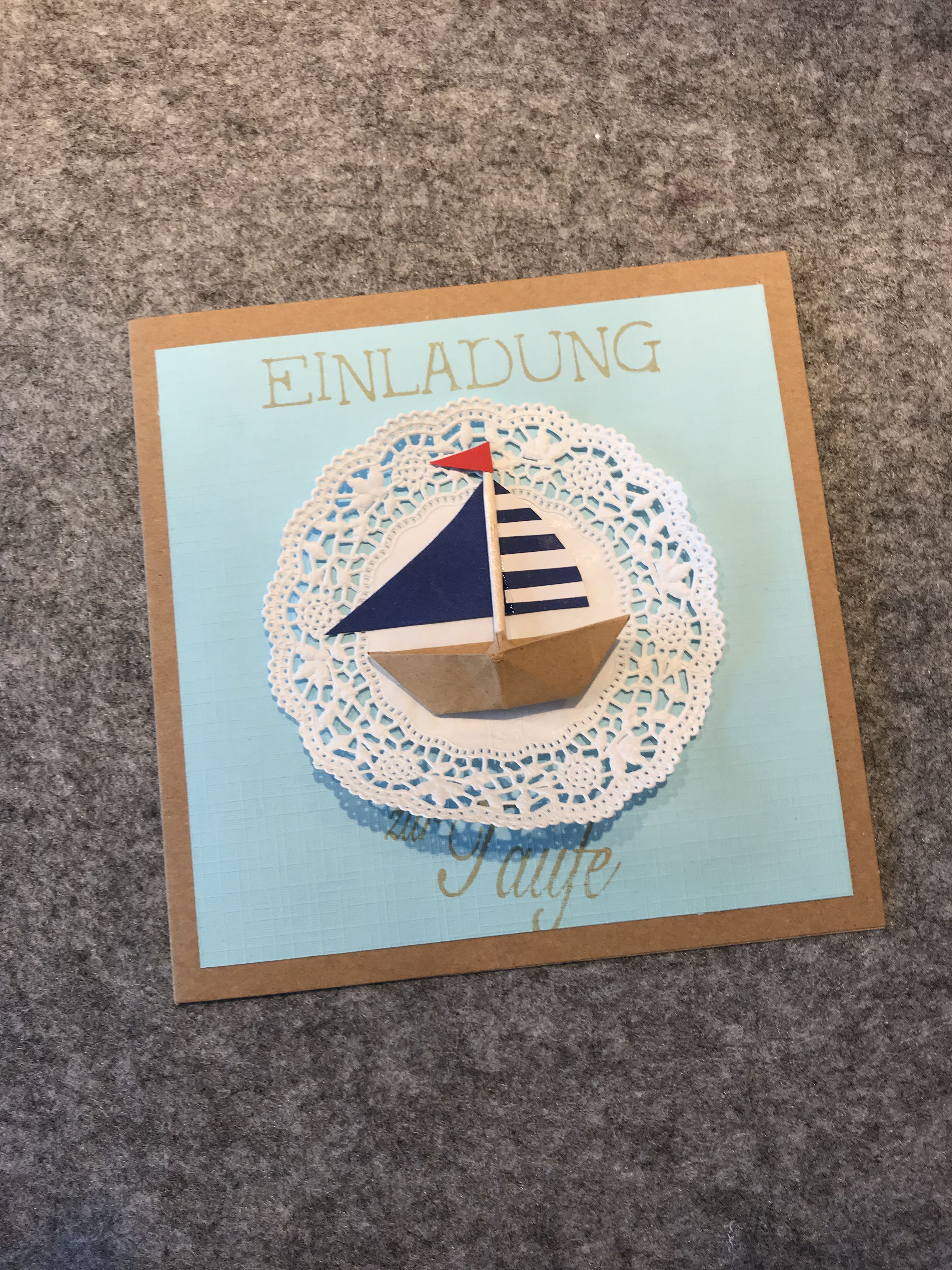 Einladung Zur Taufe Segelschiff Junge Rajzkézimunka
