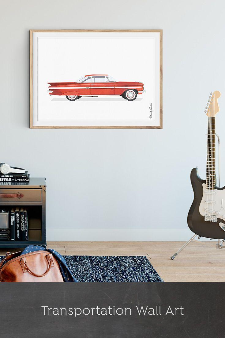 Car Wall Art, Transportation Wall Decor, Printable Car ...