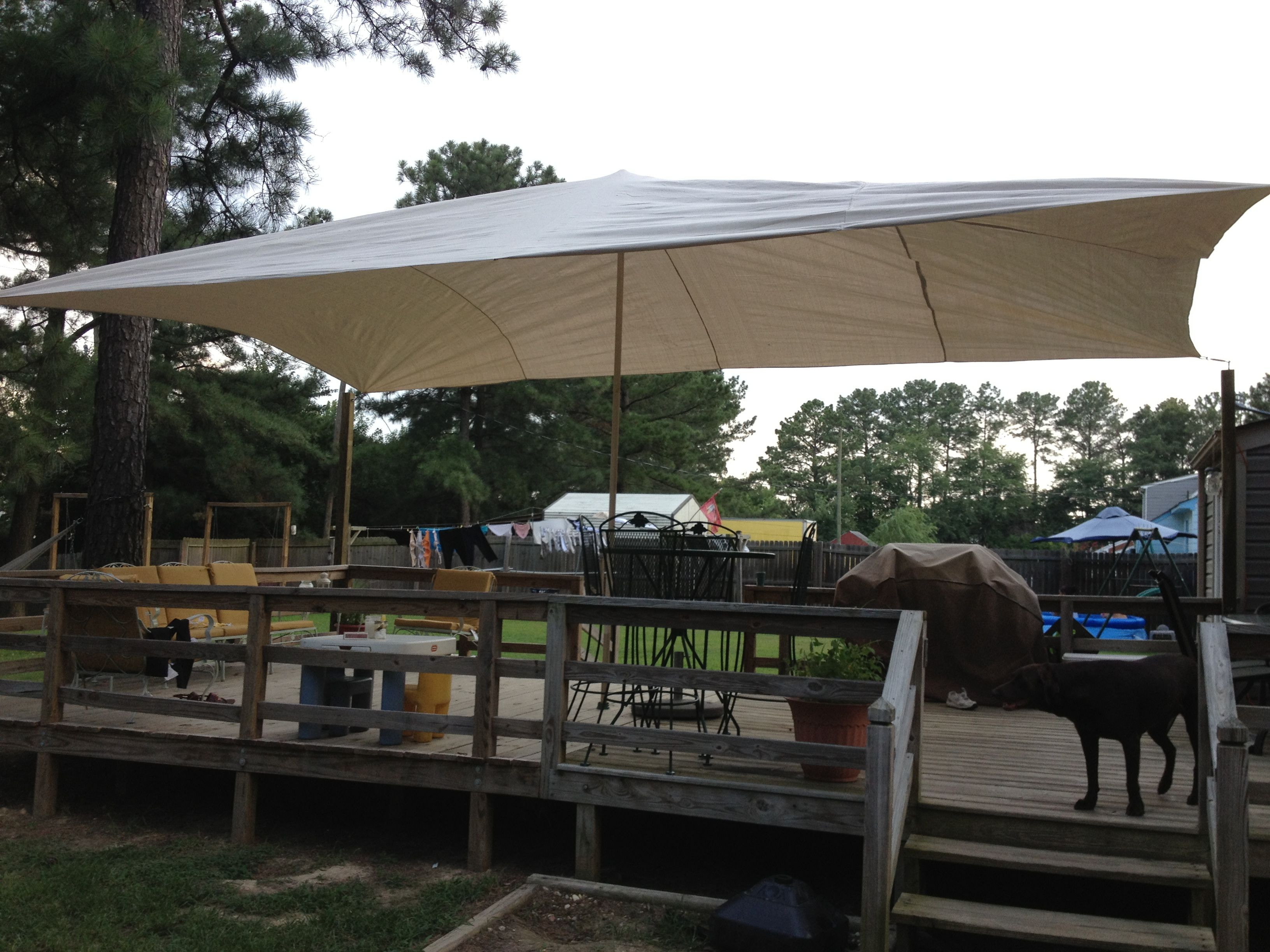 Diy Shade Sail Made From Canvas Drop Cloth Maybe Use Conduit As The Poles