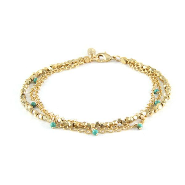 Golden Spur Anklet with Chains and Turquoise Beads