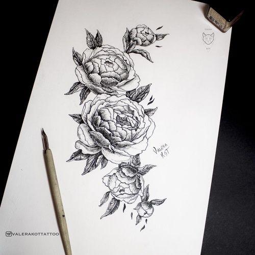 Тату эскизы цветы пионы