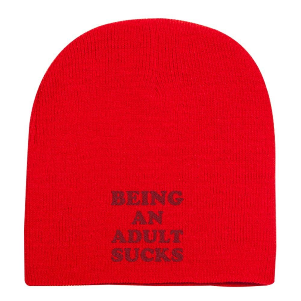 Being An Adult Sucks Embroidered Knit Beanie