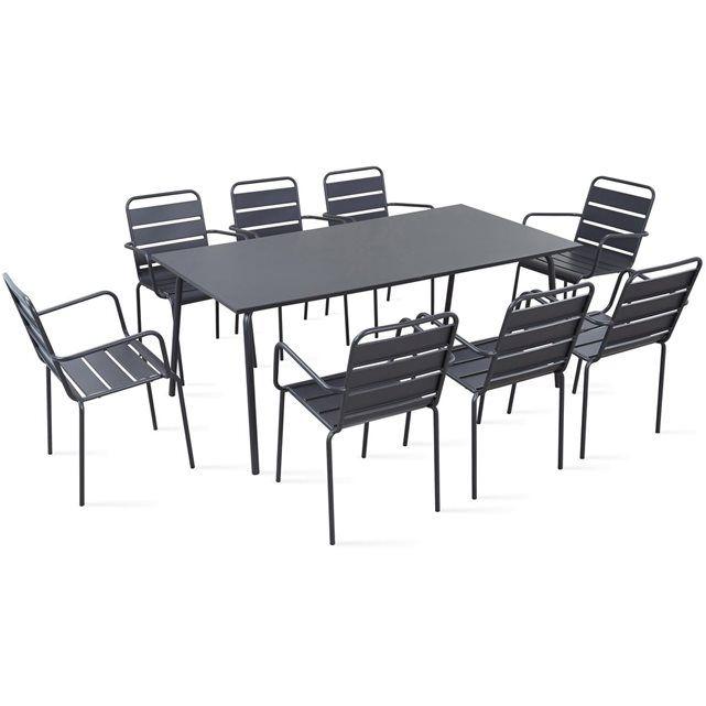 Table De Jardin Et 8 Fauteuils En Métal, Palavas - Taille ...