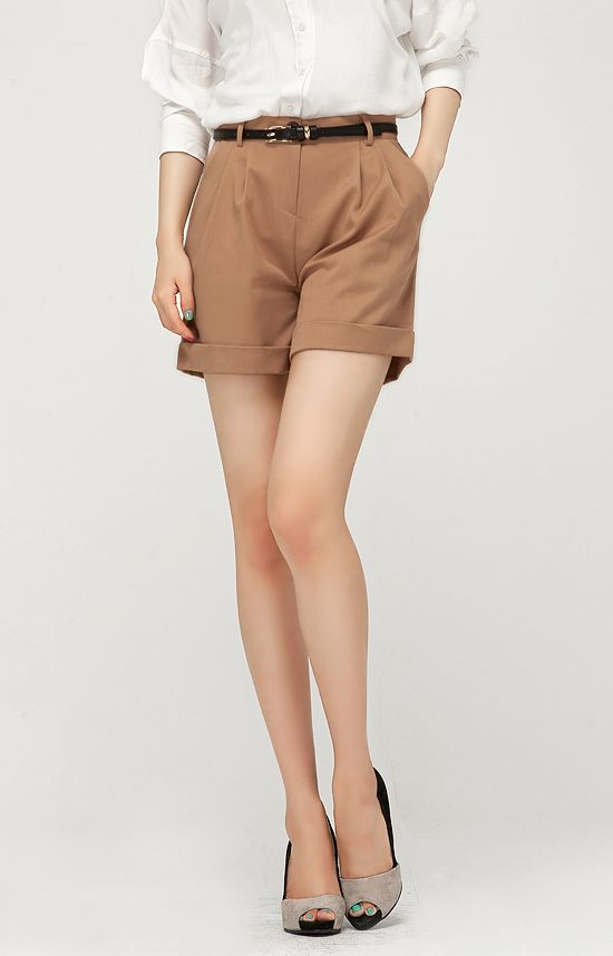Qoo10 Singapore | High-Waisted Camel Brown Shorts #fashion #ladies ...