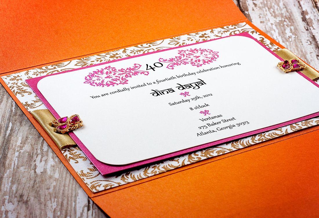 Pink and orange Indian wedding invitation