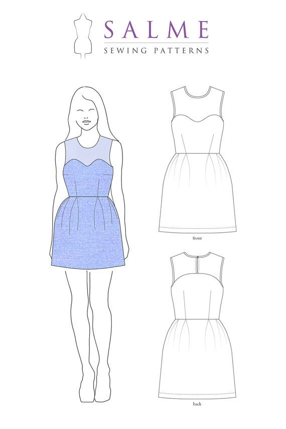 Yoke Dress PDF Sewing pattern por Salmepatterns en Etsy | patrones ...