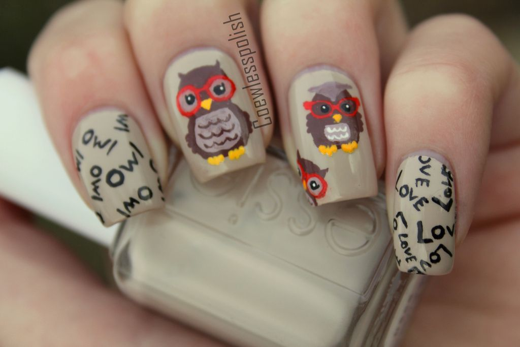 Nail Art Owl Love 3 Nails Pinterest