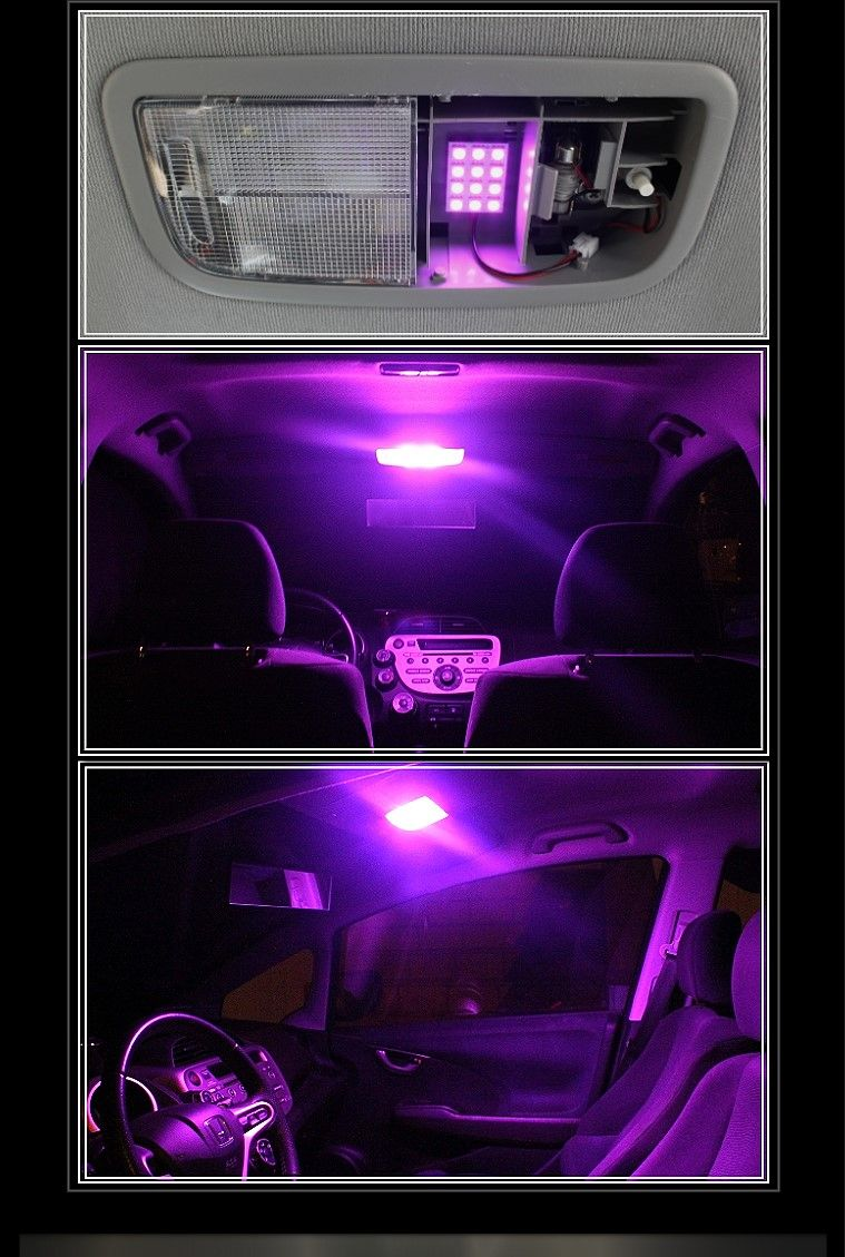 Pink purple 12 smd led panels for car interior map dome light a35 ebay i want for Led car interior lights ebay