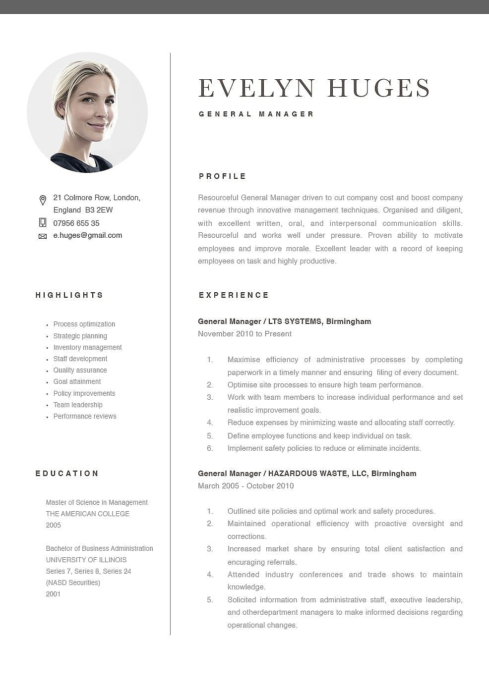 General Manager Best Resume Template Creative Templates Design Professional