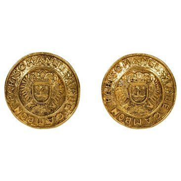 Check out this item at One Kings Lane! Chanel Goldtone Shield Logo Earrings
