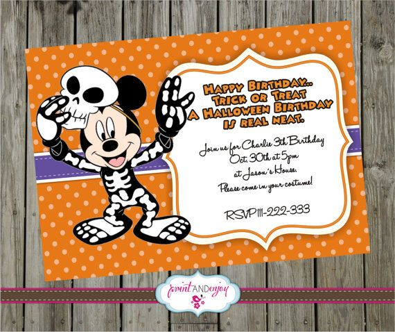 Mickey Mouse HALLOWEEN INVITATION, Diy Printable Mickey