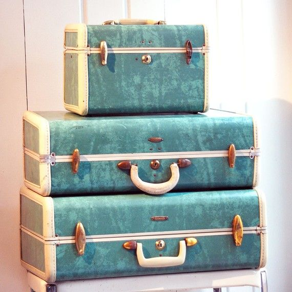 Our family luggage.....Vintage 1950s Bermuda Green Samsonite ...