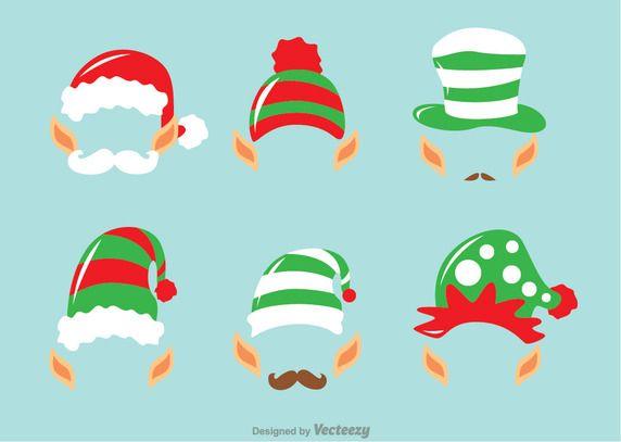 Cartoon Illustrations Of Elf Ears Hats And More Vector Elves Elf Christmas Santa Christmas Elf Ears Elf Cartoon Christmas Elf