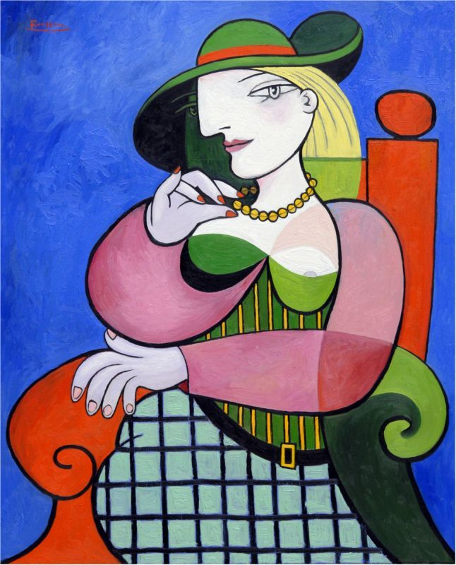 Seated woman in green hat (2018)
