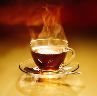 my favorite thing at the end of the day, a hot cup of tea ...