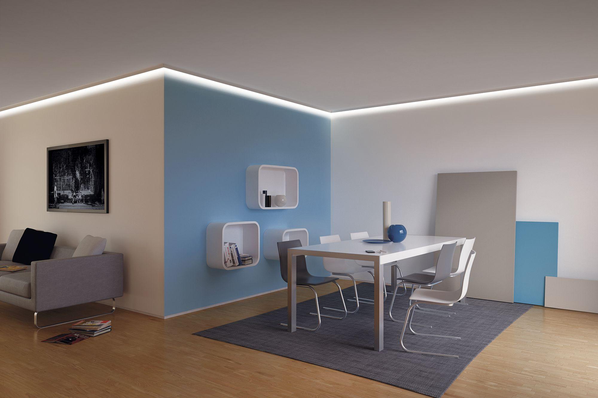 Anleitung Led Lichtleiste Corner Profil Mit Led Stripes Yourled Einfache Monta Beleuchtung Wohnzimmer Decke Beleuchtung Wohnzimmer Led Beleuchtung Wohnzimmer