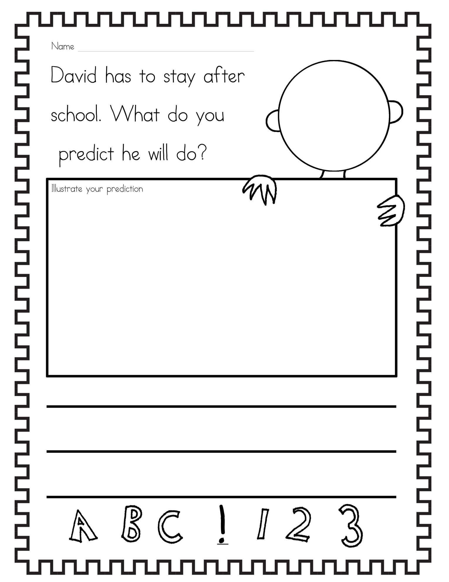 16 Story Prediction Worksheet Kindergarten