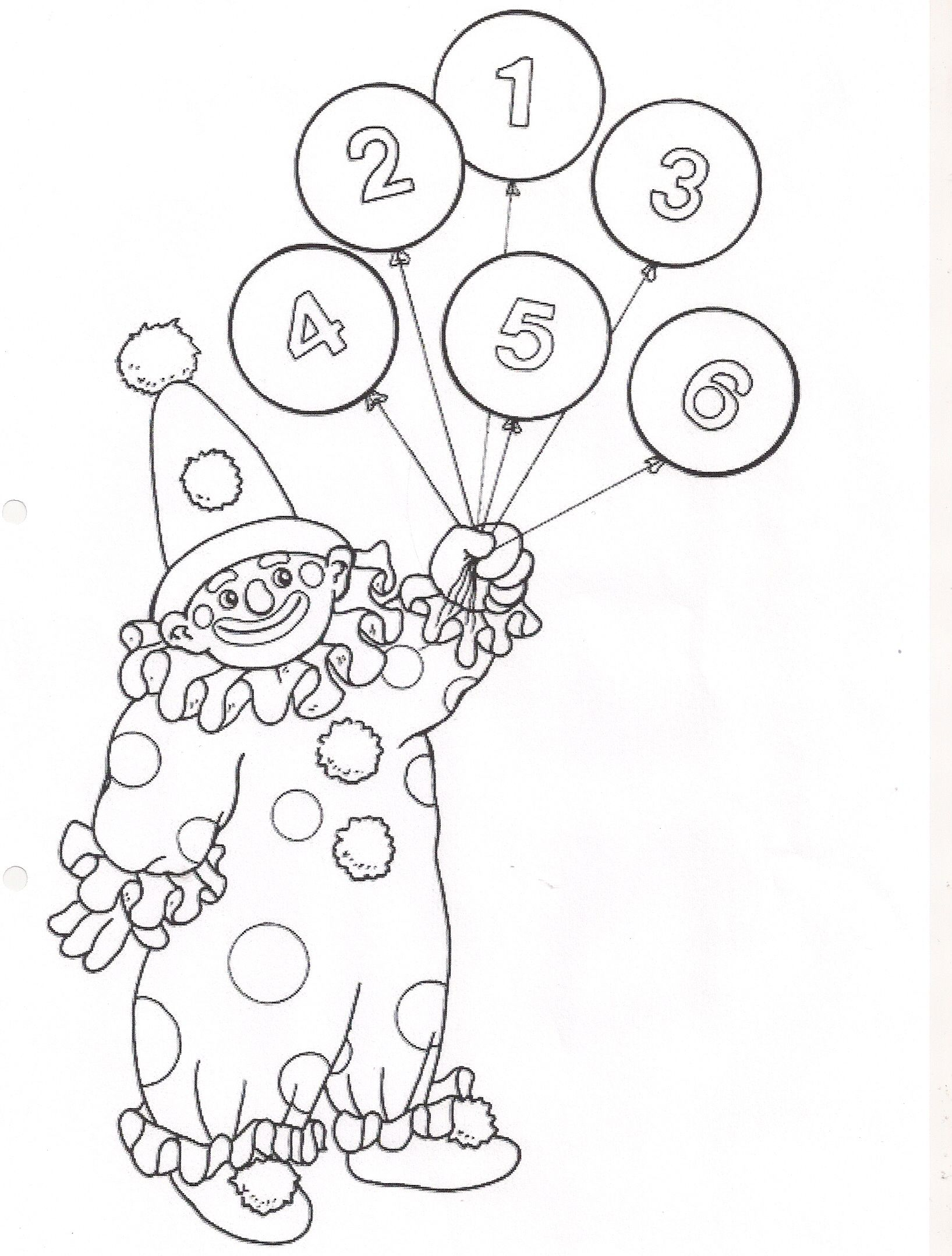 Old Fashioned Clown With Balloons Coloring Page Composition ...