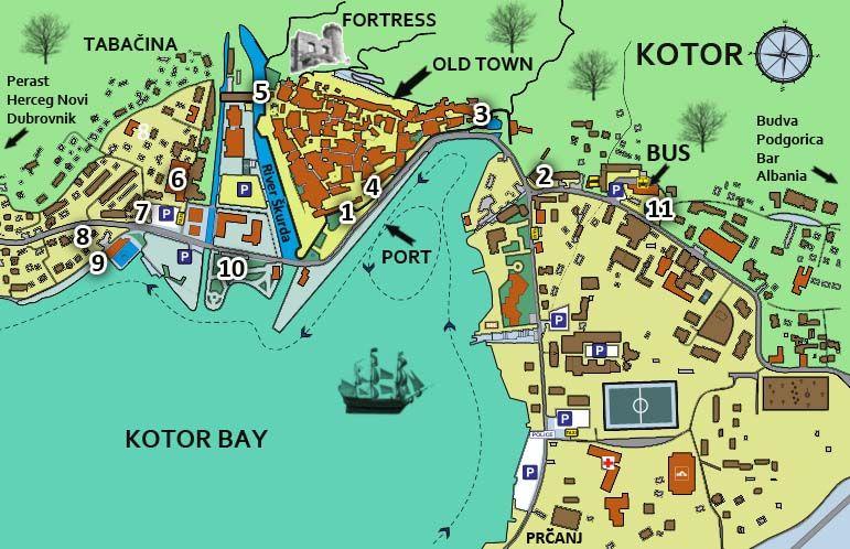 Kotor Montenegro Karte.Map Of Kotor Link Will Give You Legend Montenegro
