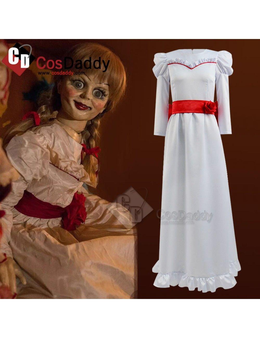 Annabelle Creation Halloween Horror Doll White Dress Cosplay Costume Fancy Dress