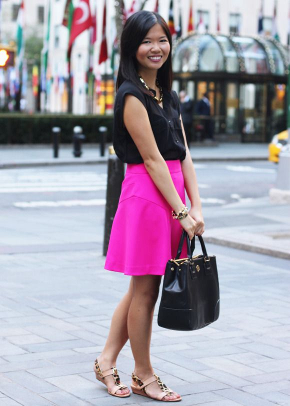 e987a2b319 Skirt The Rules Blog  NYC fashion blogger  style blog  summer outfit  photos  Gentle Fawn Germain black sheer top  Express hot pink skirt  C.  Wonder tortoise ...