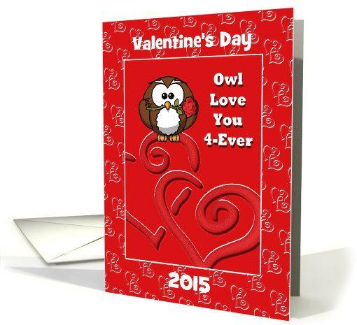 Valentine Owl With Rose/Hearts/Love/Custom Card Valentine\u0027s Day