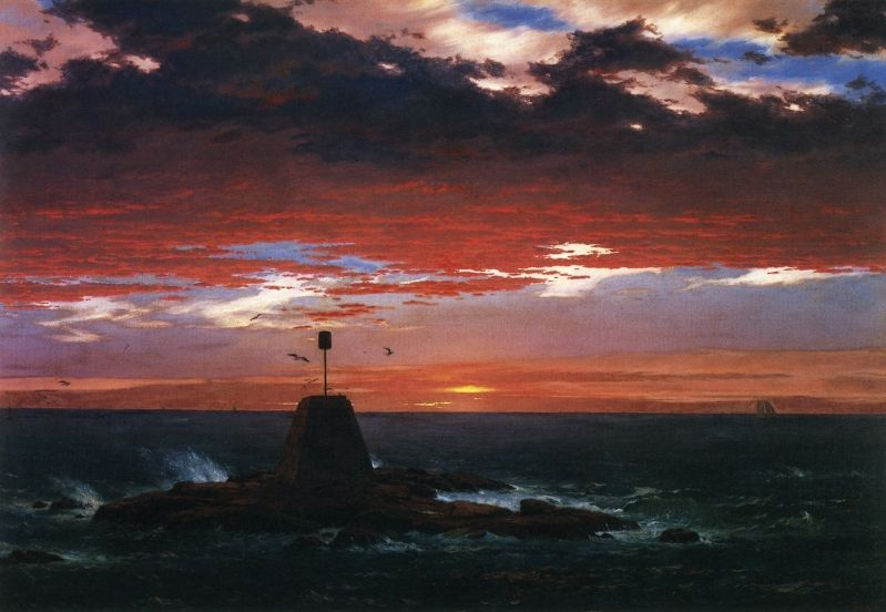 """Beacon, off Mount Desert Island,"" Frederic Edwin Church, 1851, oil on canvas, 31 x 46"", private collection."