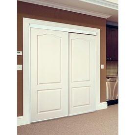 ReliaBilt White 2 Panel Arch Top Sliding Closet Interior Door (Common:  60 In Xu2026