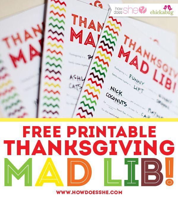 photo regarding Thanksgiving Printable known as Thanksgiving Crazy Lib Special No cost Printable
