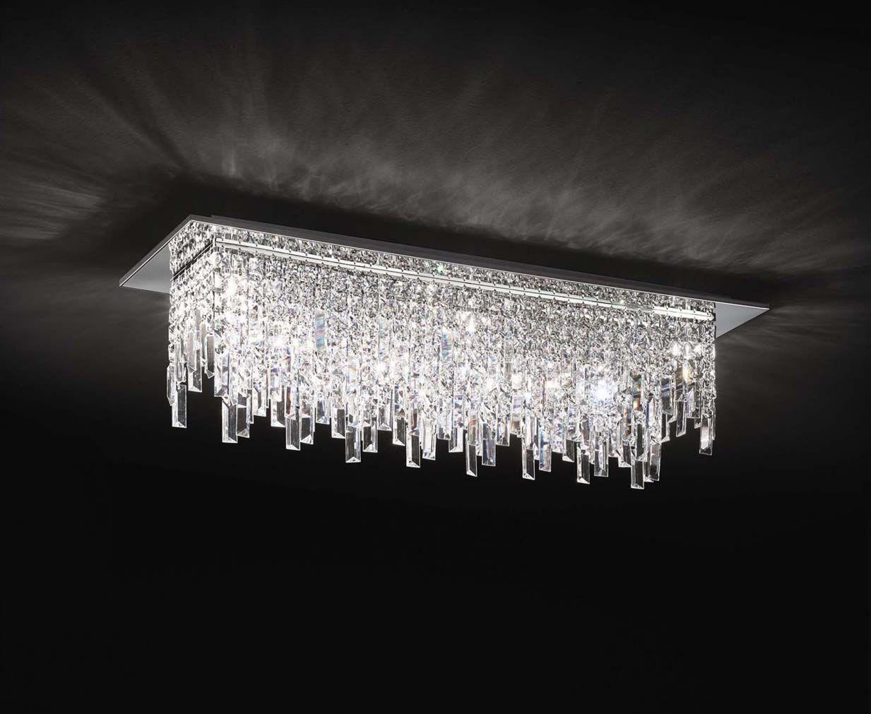 Plafoniera Cristallo Led : Plafoniera moderna luci affra frangia design swarovsky in