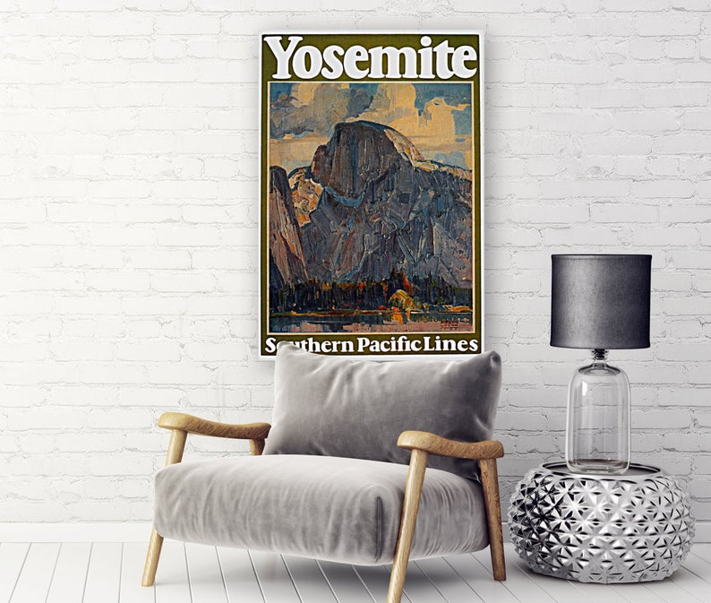 Yosemite Canvas Travel Poster: YOSEMITE TRAVEL POSTER Vintage Travel Poster Surf Art