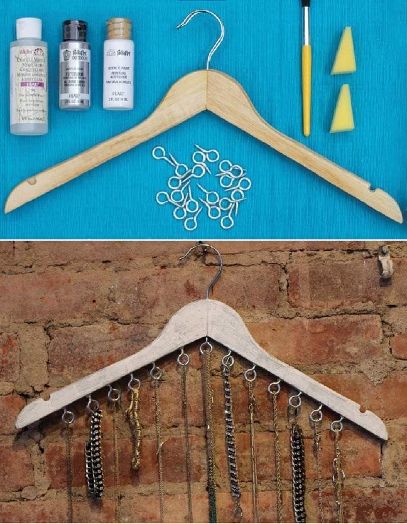 Ideas para organizar collares pendientes pulseras y for Ganchos metalicos para colgar ropa