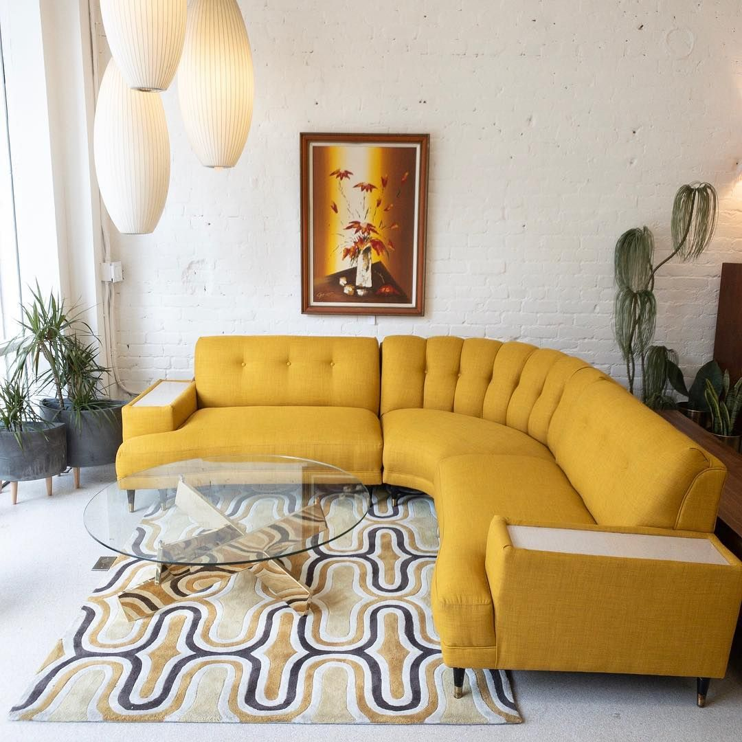 Vintage Restored Mustard Yellow Sectional Sofa Dm To Buy For 2800 Located In Dtla 93 W X 93 L X 36 D Sectional Sofa Living Room Sofa Set Yellow Couch
