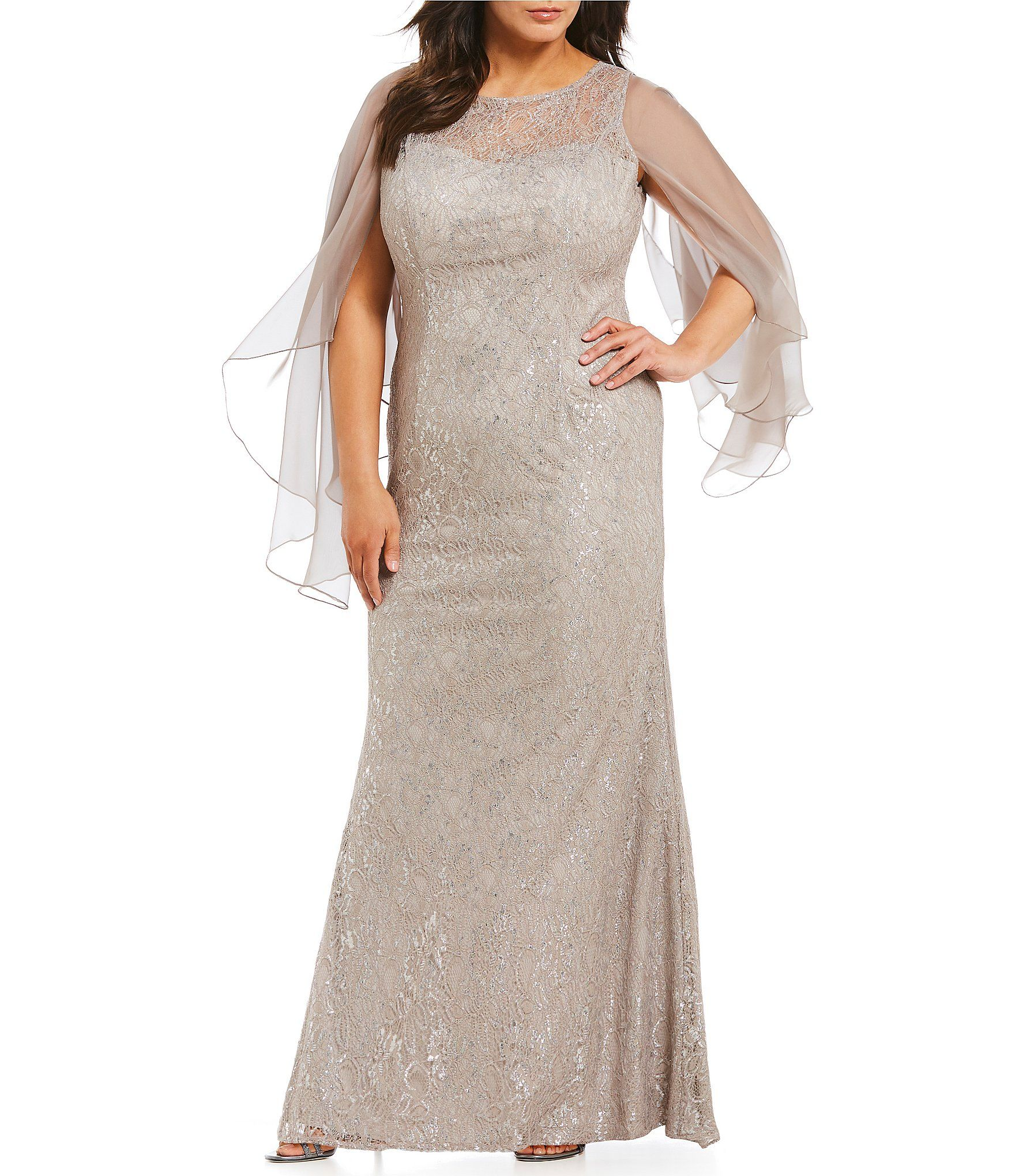 fd102b2baca Terani Couture Plus Lace Butterfly Sleeve Gown  Dillards