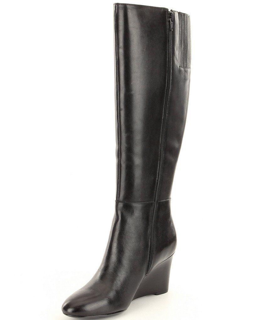 Black:Lauren Ralph Lauren Tamora Wide Calf Boots