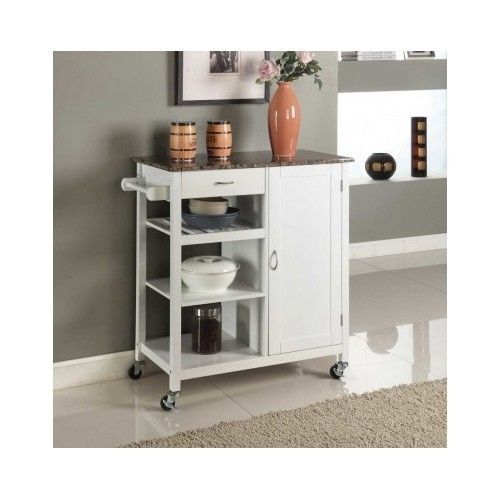 Kitchen Island Cart Marble Top Rolling Portable Storage Bar White Wood Cabinet