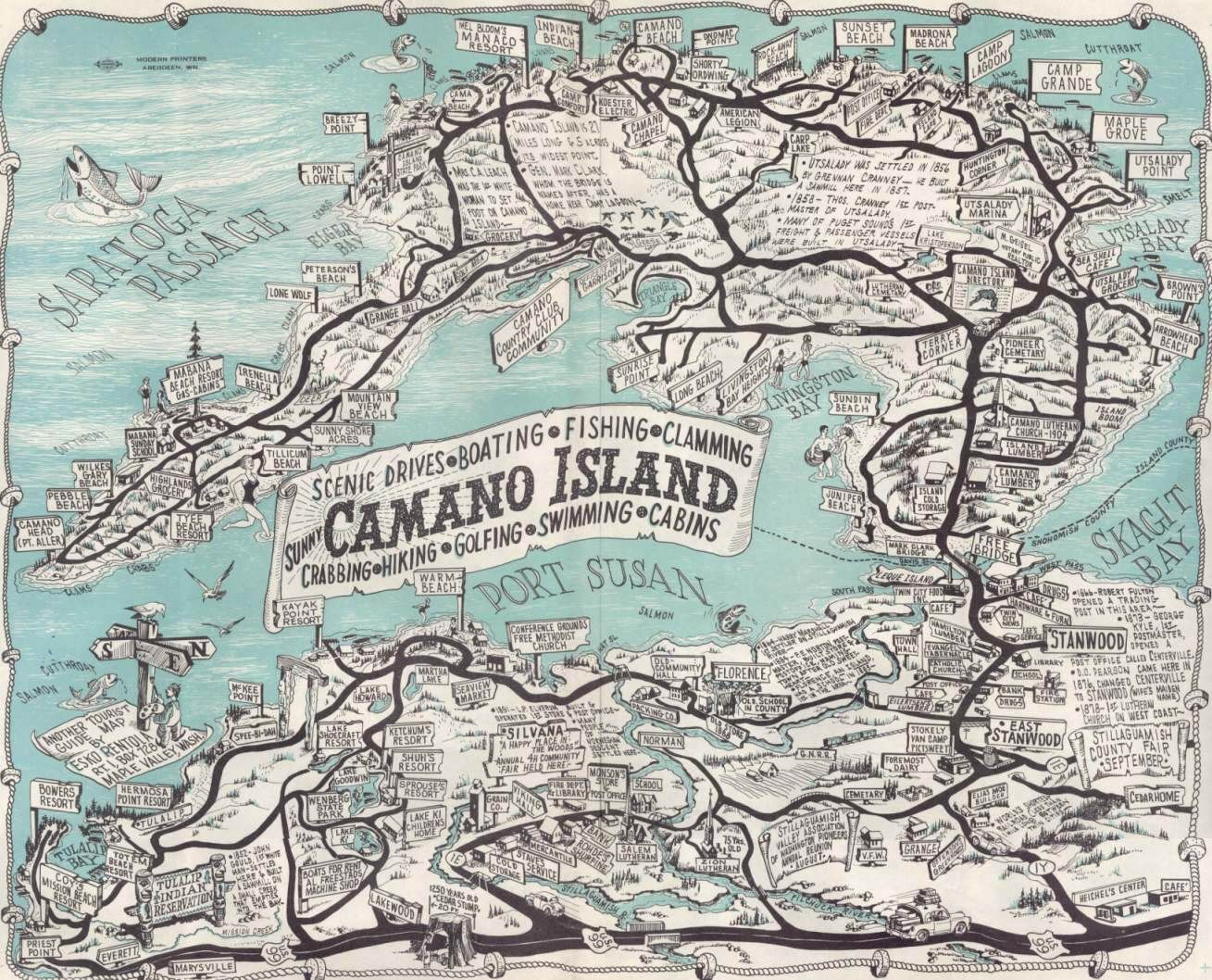 Camano island tourist map from 1958 cartography pinterest camano island tourist map from 1958 geenschuldenfo Image collections