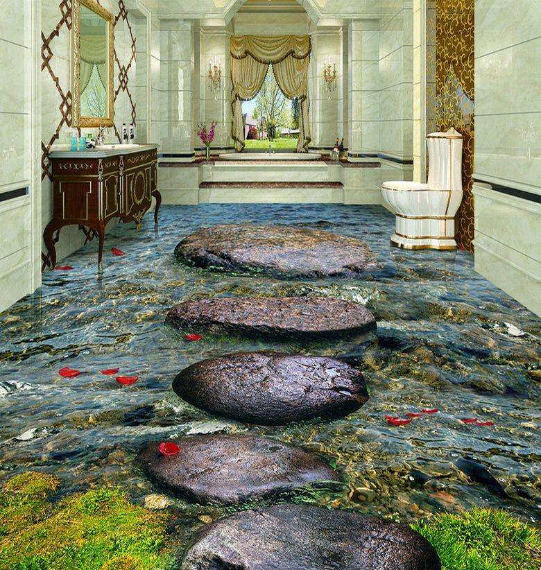 rev tement de sol trompe l 39 il 3d paysage nature les pas japonais dans la rivi re avec les. Black Bedroom Furniture Sets. Home Design Ideas