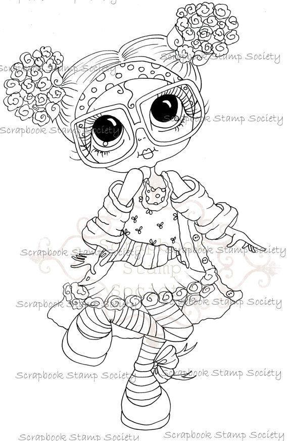 INSTANT DOWNLOAD Digital Digi Stamps Big Eye Big Head Dolls Messy ...