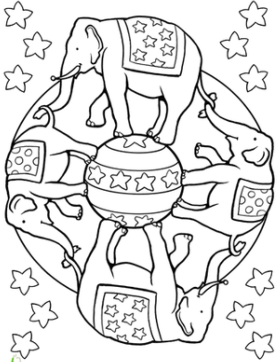 Free Printable Elephant Circus Coloring Pages