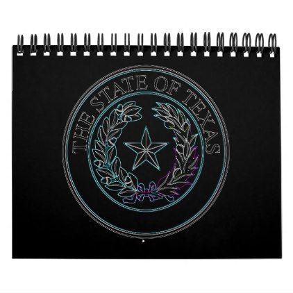 Texas State 2019 Calendar Texas State Seal In Neon Calendar | Zazzle.in 2019 | calendars