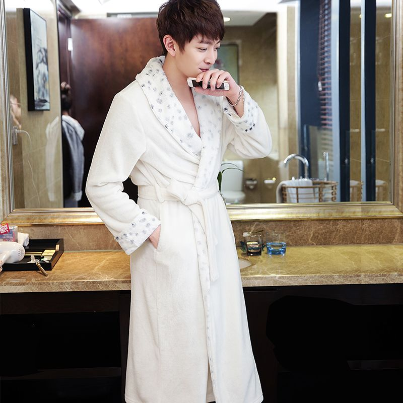 Hot Selling Men\'s Superfine fur Neck Soft Flannel Long Bathrobe Men ...