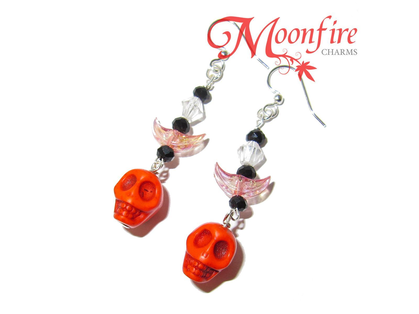 Orange Skull and Crescent Moon Earrings