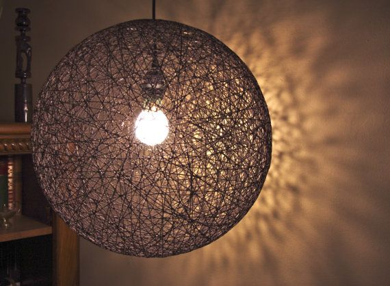 Hanging Sphere String Light 18 Brown Hemp Pendant by IvyStyles, $100.00