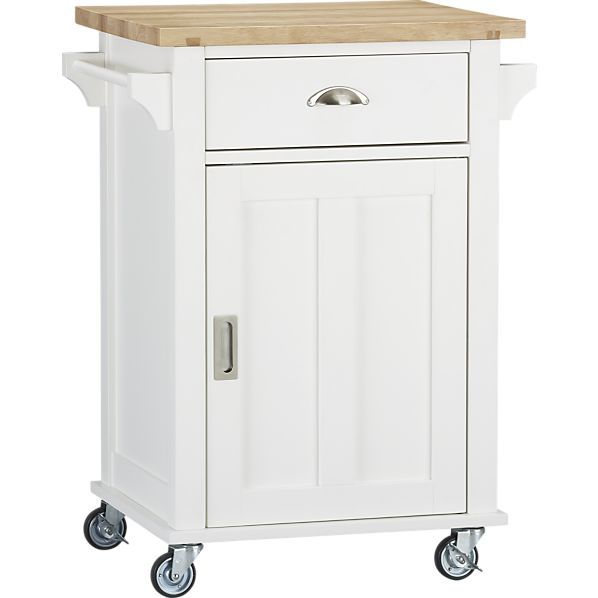 Belmont White Kitchen Cart in Dining, Kitchen Storage | Crate and ...