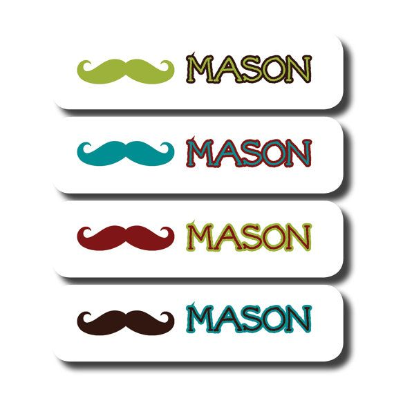 76 personalized waterproof dishwasher safe name labels custom camp school daycare name stickers mustache