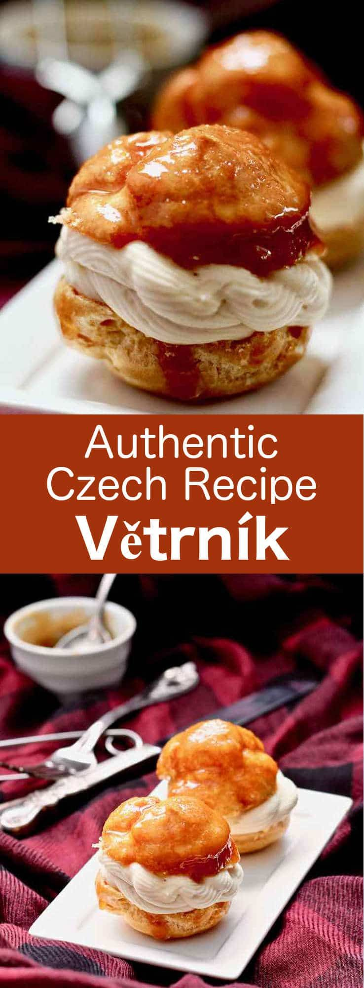 Větrník is a delicious little choux pastry topped with caramel and vanilla cream, and covered with a glossy caramel icing, that is popular in the Czech Republic. #CzechRepublic #CzechCuisine #CzechRecipe #Dessert #CzechDessert #Vegetarian #WorldCuisine #196flavors #czechrecipes