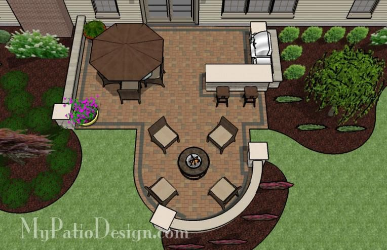 Creative Backyard Patio Design with Seating Wall - 525 sq ...