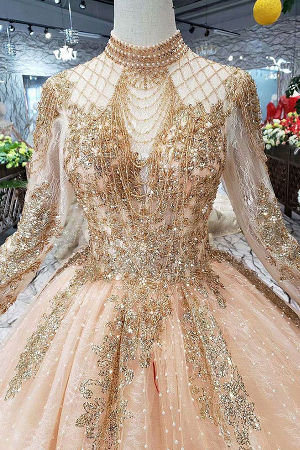 [328.40] Winsome Lace & Sequin Lace High Collar Ball Gown Wedding Dresses With Beadings